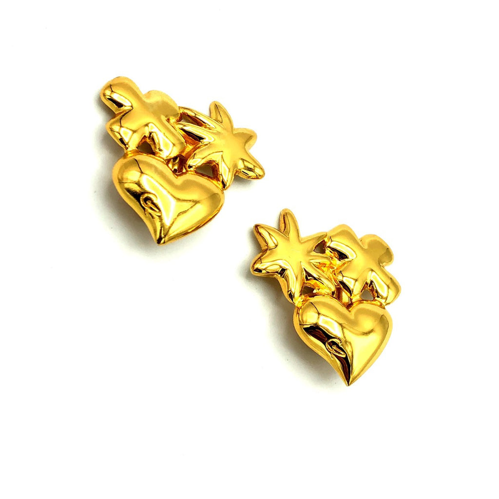 Classic Gold Christian Lacroix Bijoux Heart Star Vintage Earrings