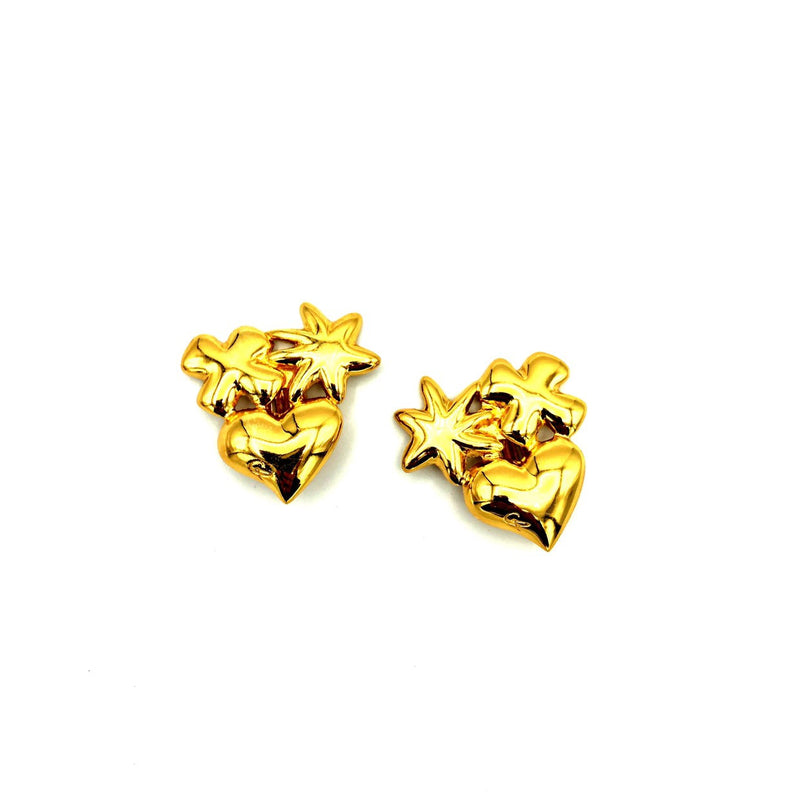 Classic Gold Christian Lacroix Bijoux Heart Star Vintage Earrings-Sustainable Fashion with Vintage Style-Trending Designer Fashion-24 Wishes