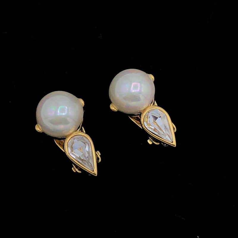 Gold Nina Ricci Classic Pearl & Rhinestone Vintage Earrings-Sustainable Fashion with Vintage Style-Trending Designer Fashion-24 Wishes