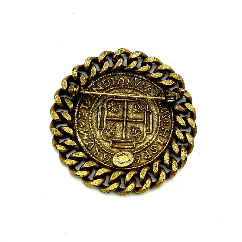 Hattie Carnegie Heraldic Coat of Arms Ancient Coin Brooch