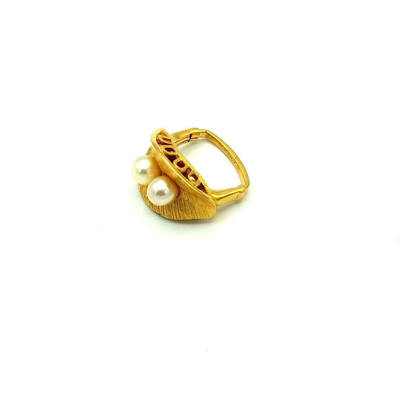 Gold Vendome Culture Pearl Vintage Cocktail Ring
