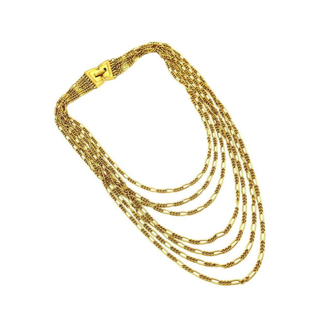 update alt-text with template Gold Crown Trifari Vintage Layered Chain Necklace-Necklaces & Pendants-Trifari-[trending designer jewelry]-[trifari jewelry]-[Sustainable Fashion]