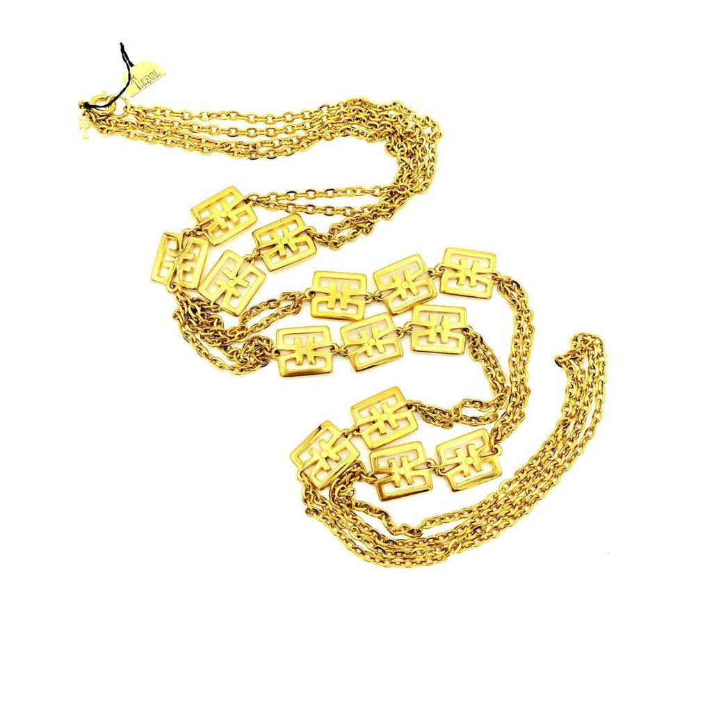 update alt-text with template Gold Crown Trifari Vintage Layered Long Chain Necklace-Necklaces & Pendants-Trifari-[trending designer jewelry]-[trifari jewelry]-[Sustainable Fashion]