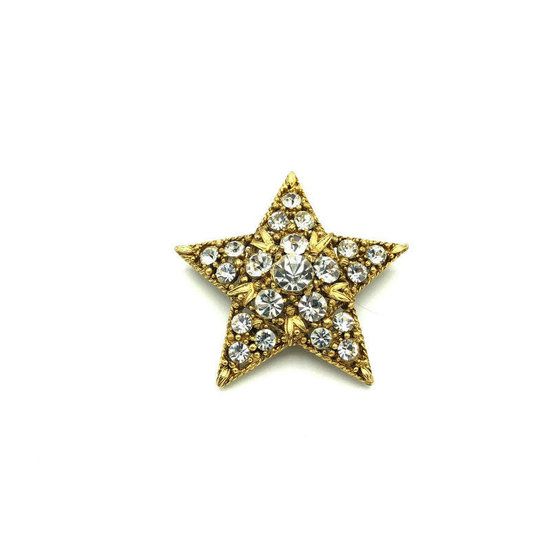 Hollycraft Clear Rhinestone Star Gold Vintage Brooch-Sustainable Fashion with Vintage Style-Trending Designer Fashion-24 Wishes