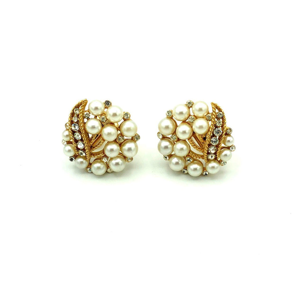 Gold Crown Trifari Pearl & Rhinestone Vintage Earrings