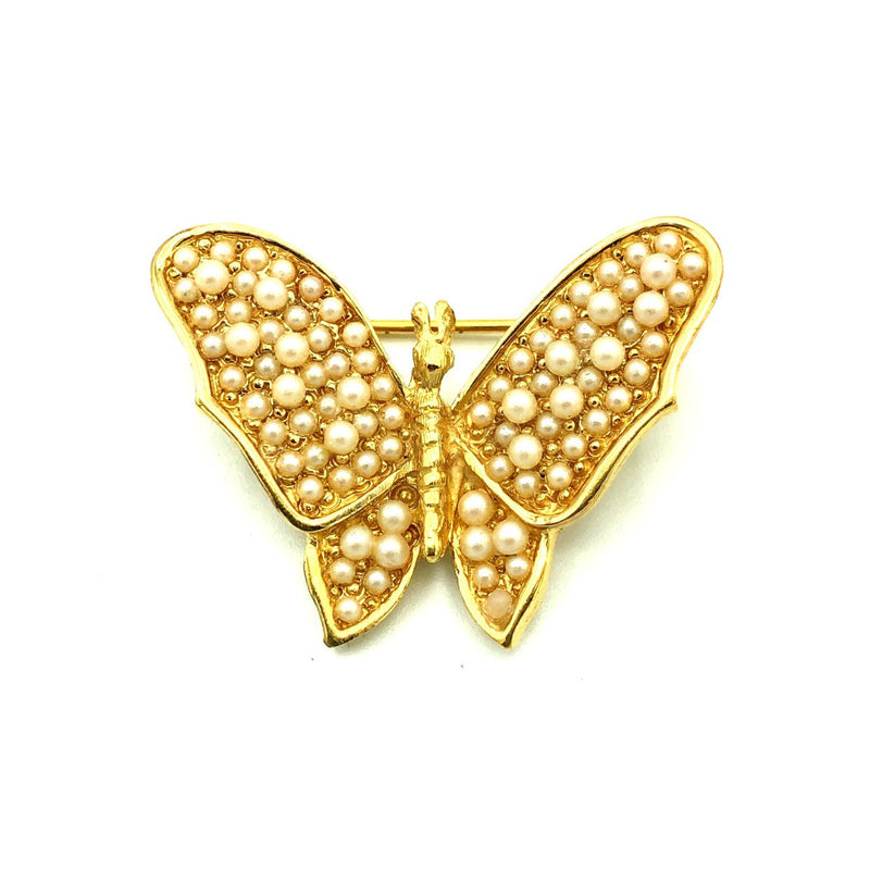 update alt-text with template Gold Trifari Seed Pearl Butterfly Vintage Brooch-Brooches & Pins-Trifari-[trending designer jewelry]-[trifari jewelry]-[Sustainable Fashion]