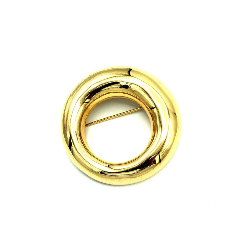 Classic Gold Givenchy Open Circle Brooch Pin