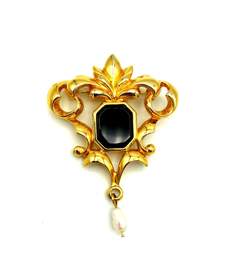 Vintage Gold Avon Victorian Revival Pearl Brooch-Sustainable Fashion with Vintage Style-Trending Designer Fashion-24 Wishes