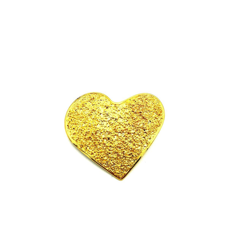 Large Gold Textured Heart Vintage Brooch Pin-Sustainable Fashion with Vintage Style-Trending Designer Fashion-24 Wishes