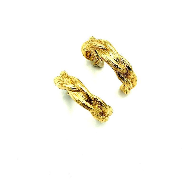 Givenchy Gold Braided Hoop Vintage Earrings