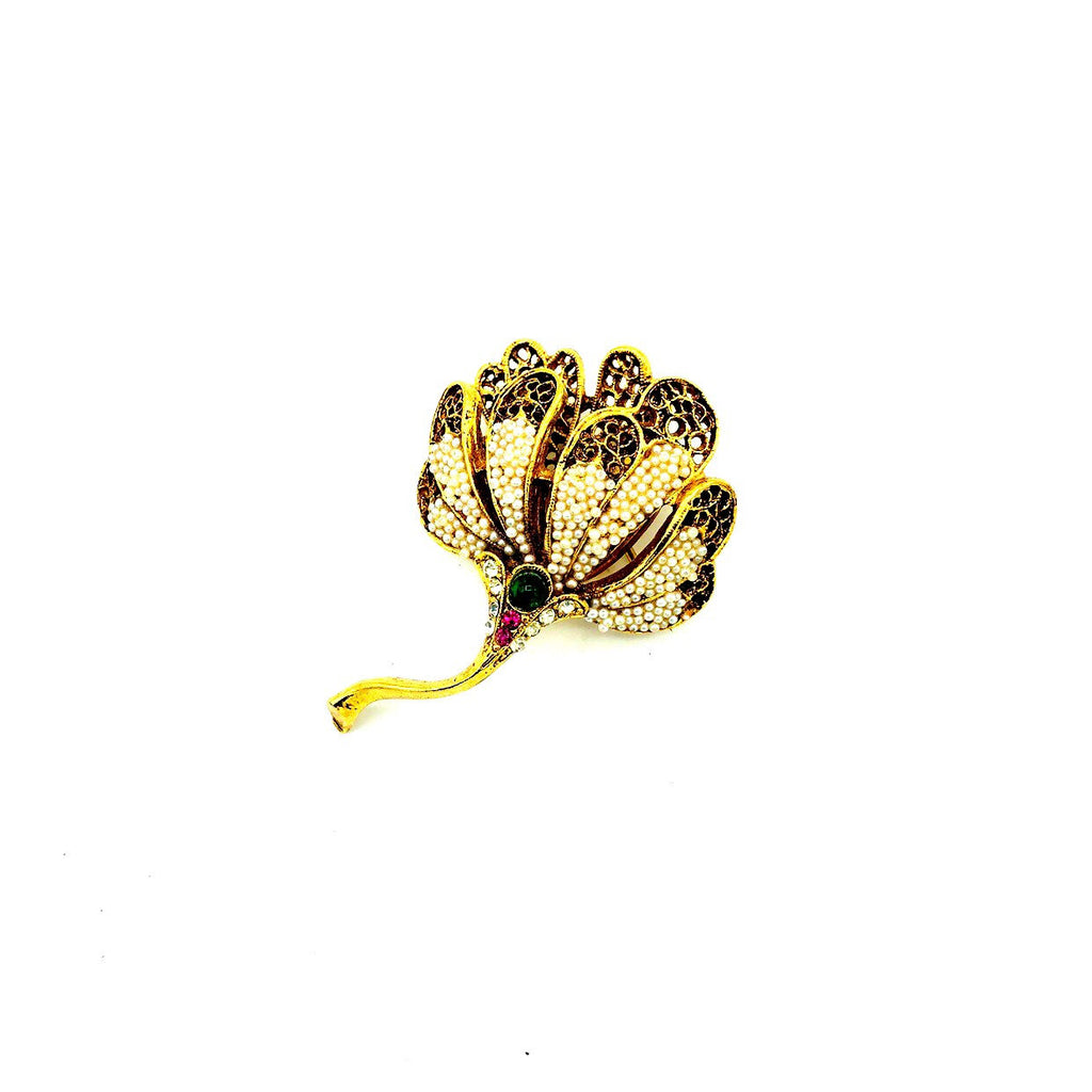 Coro Gold Filigree Seed Pearl Flower Brooch-Sustainable Fashion with Vintage Style-Trending Designer Fashion-24 Wishes