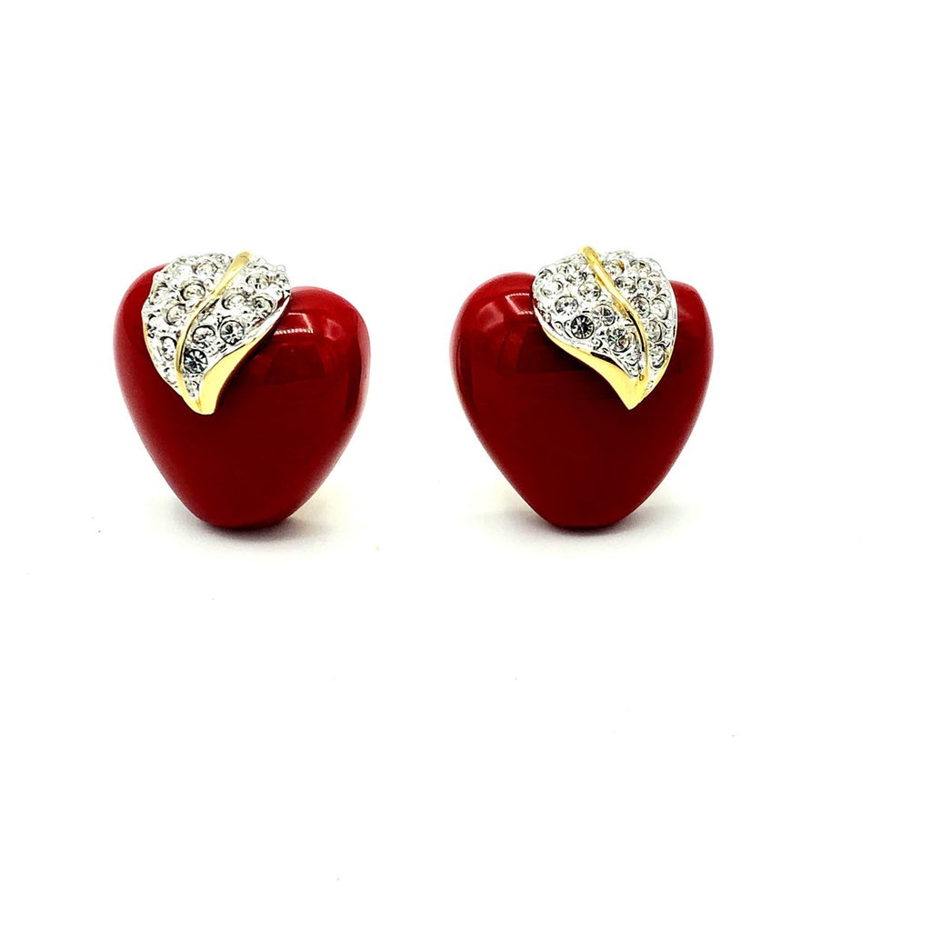 Kenneth Jay Lane Red Shiny Apple NYC Clip-On Earrings-Sustainable Fashion with Vintage Style-Trending Designer Fashion-24 Wishes
