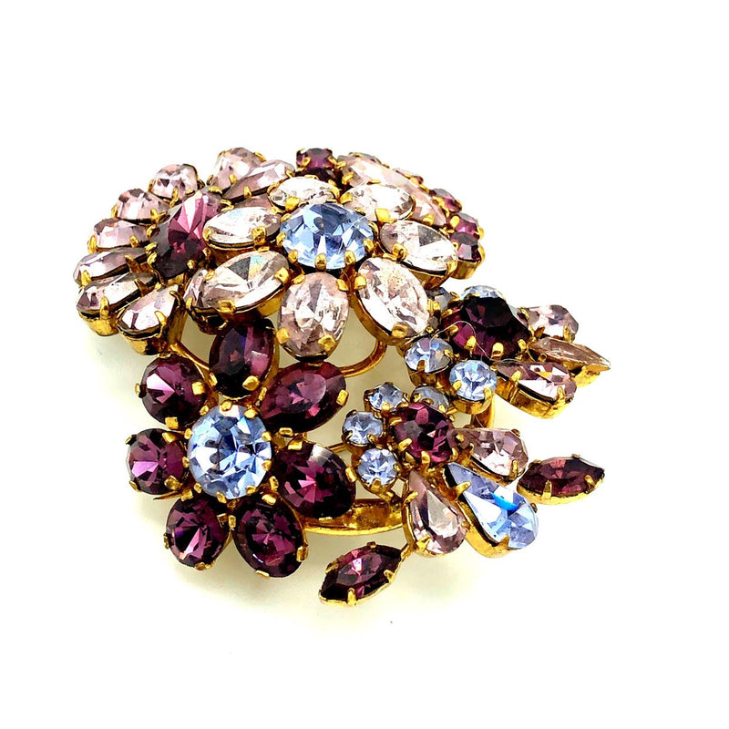 Vintage Austria Art Deco Purple Crystal Flower Brooch-Sustainable Fashion with Vintage Style-Trending Designer Fashion-24 Wishes
