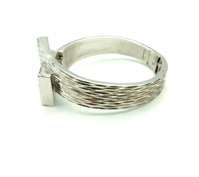 update alt-text with template Silver Trifari Modernist Hinged Vintage Bangle Bracelet-Bracelets-Trifari-[trending designer jewelry]-[trifari jewelry]-[Sustainable Fashion]