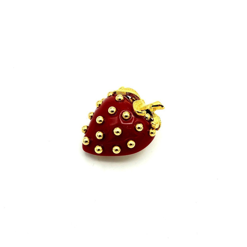 update alt-text with template Kenneth Jay Lane Red Lucite Strawberry Vintage Brooch-Brooches & Pins-Kenneth Jay Lane-[trending designer jewelry]-[kenneth jay lane KJL jewelry]-[Sustainable Fashion]