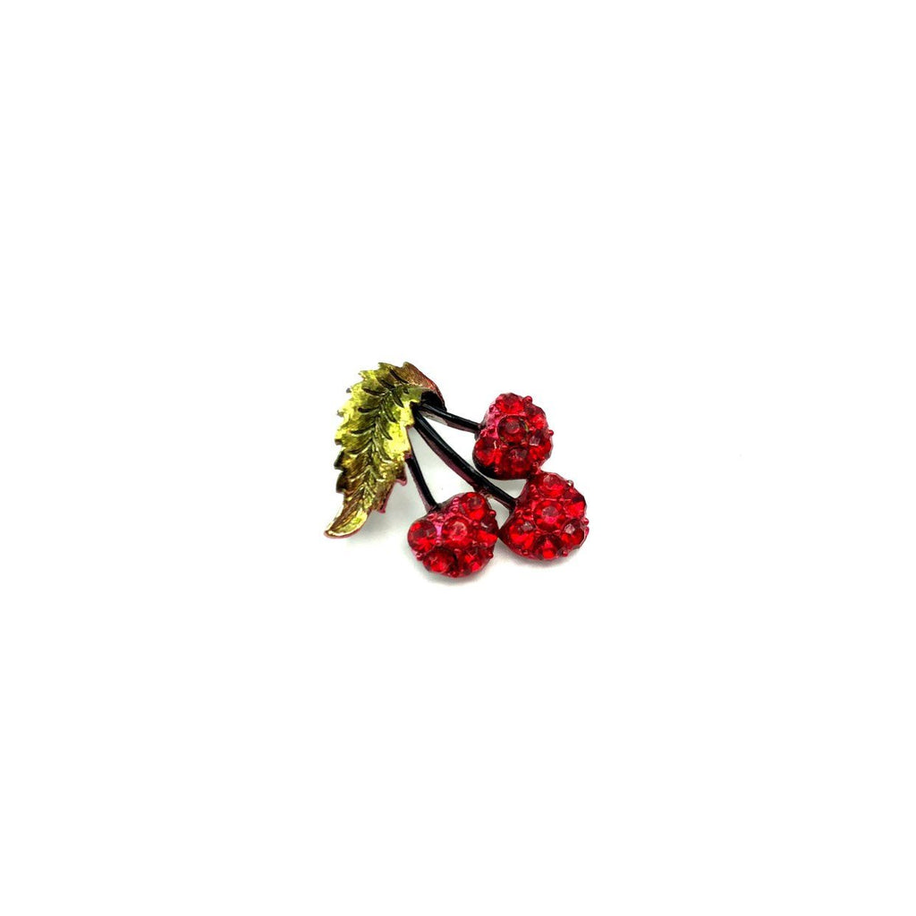 Vintage Rhinestone Red Cherries Brooch
