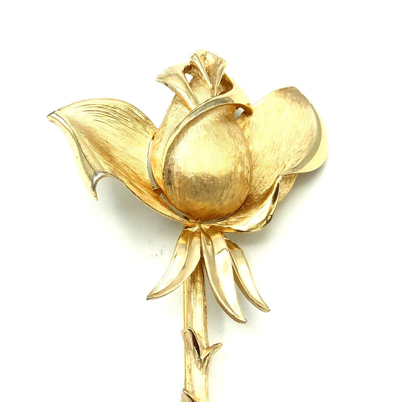Classic Gold Trifari Long Stem Vintage Rose Brooch