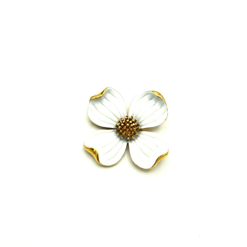 Gold Trifari White Enamel Dogwood Vintage Brooch