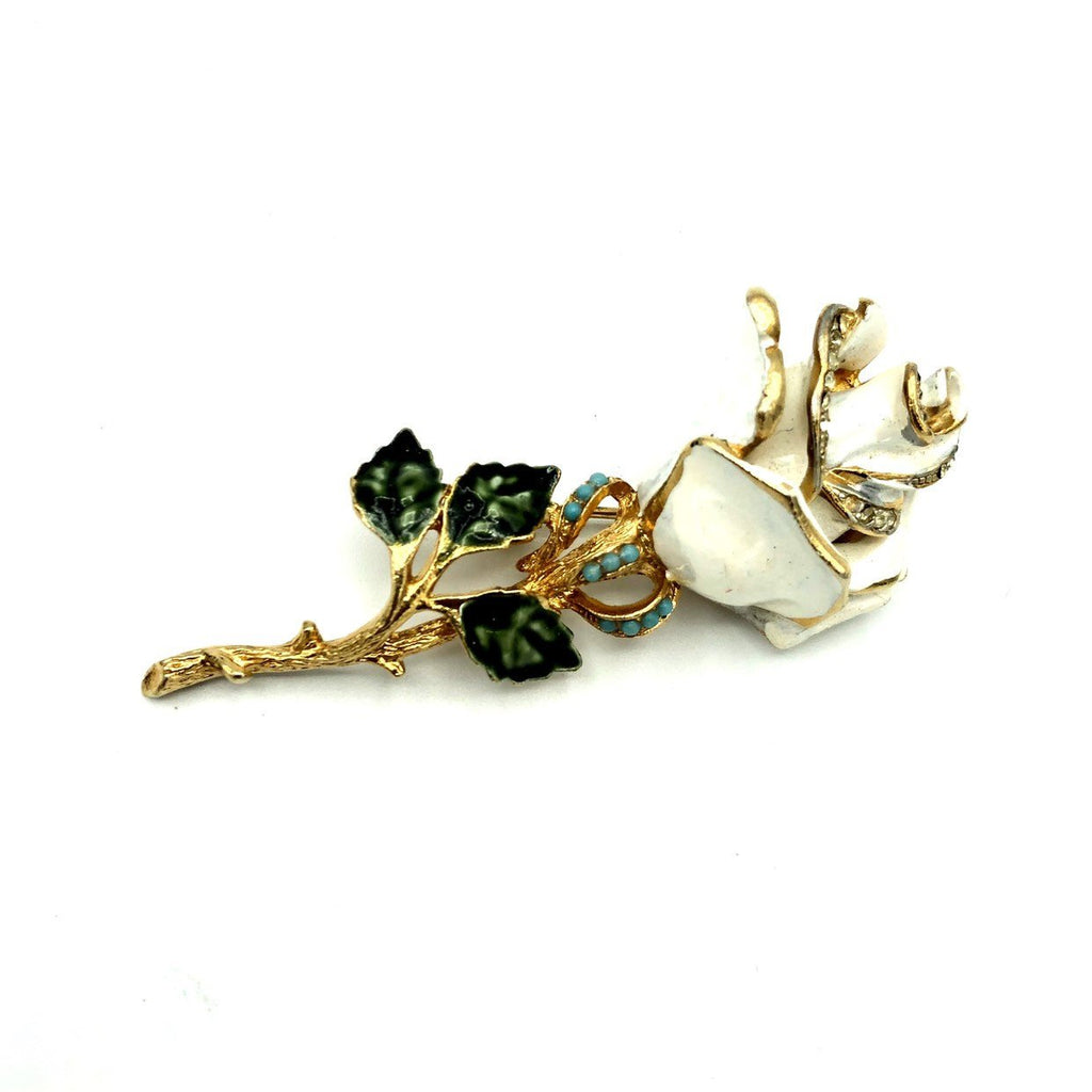 Classic Enamel Coro White Rose Floral Brooch Pin