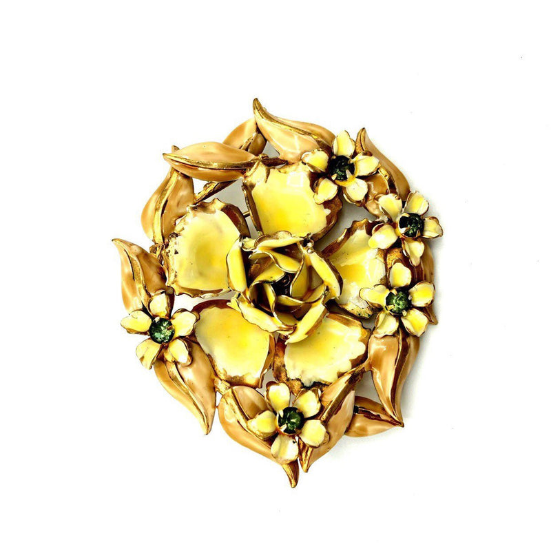 Large Sandor Yellow Enamel Flower Vintage Brooch-Sustainable Fashion with Vintage Style-Trending Designer Fashion-24 Wishes