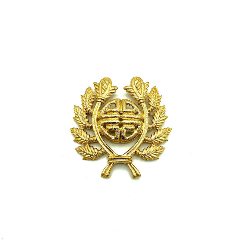 Classic Gold Givenchy Logo Laurels Emblem Vintage Brooch-Brooches & Pins-Givenchy-[trending designer jewelry]-[givenchy jewelry]-[Sustainable Fashion]