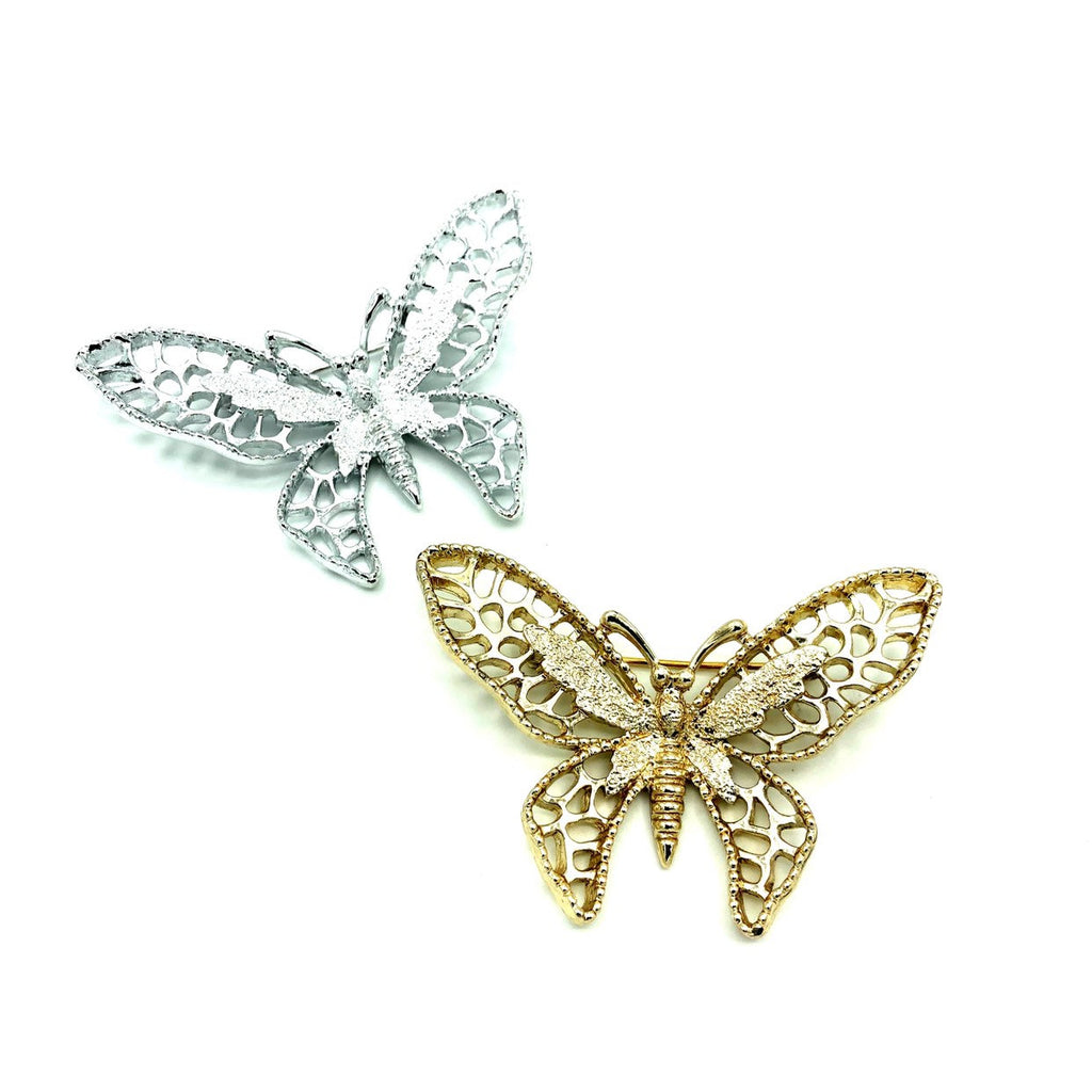 Sarah Coventry Silver & Gold Butterfly Brooch Set