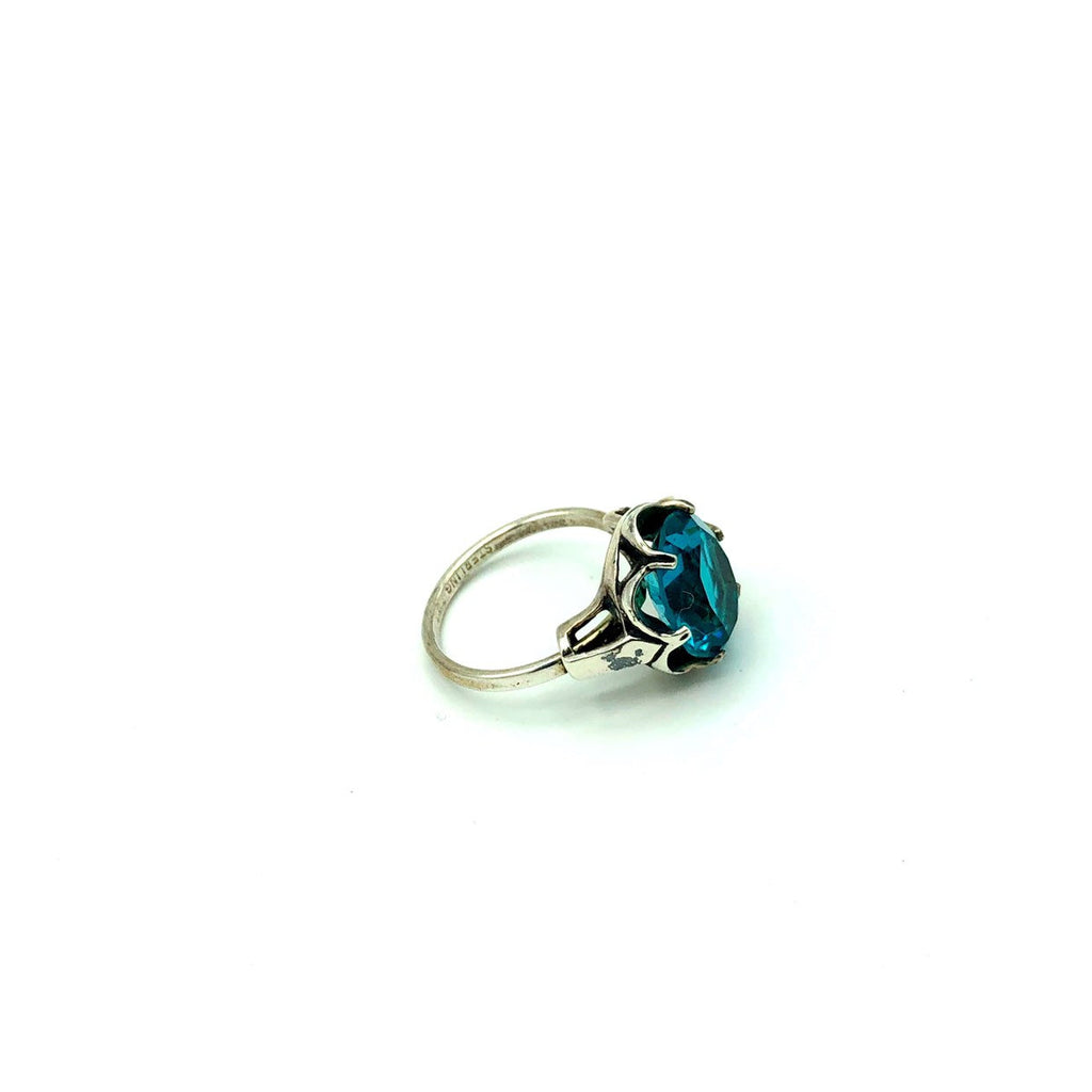 Sarah Coventry Bright Blue Rhinestone Sterling Solitaire Vintage Ring-Sustainable Fashion with Vintage Style-Trending Designer Fashion-24 Wishes