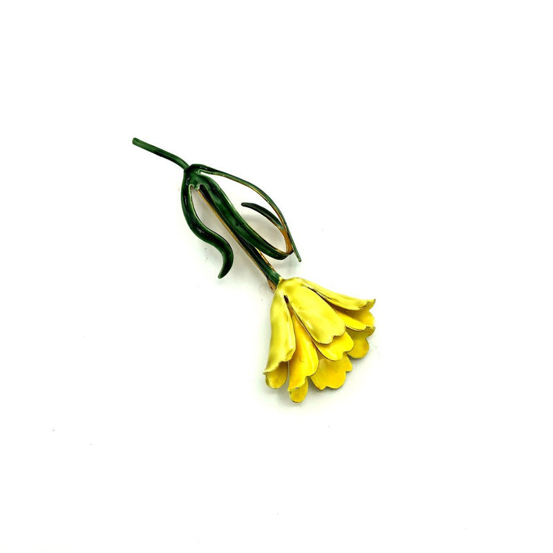Sandor Yellow Enamel Long Stem Flower Vintage Brooch-Sustainable Fashion with Vintage Style-Trending Designer Fashion-24 Wishes