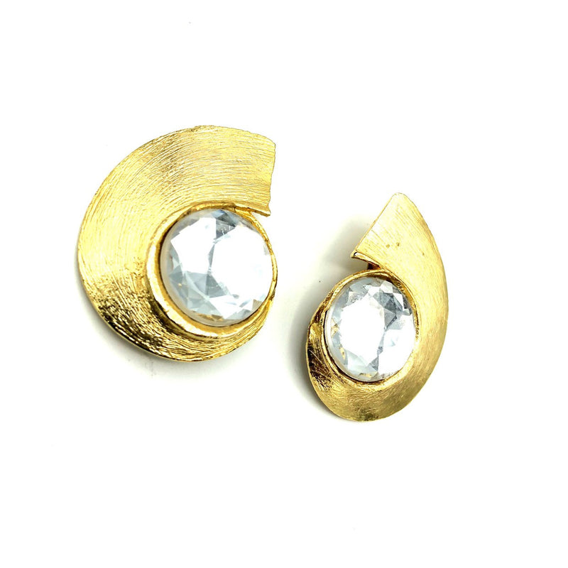 Classic Retro Gold Statement Vintage Clip-On Earrings-Sustainable Fashion with Vintage Style-Trending Designer Fashion-24 Wishes