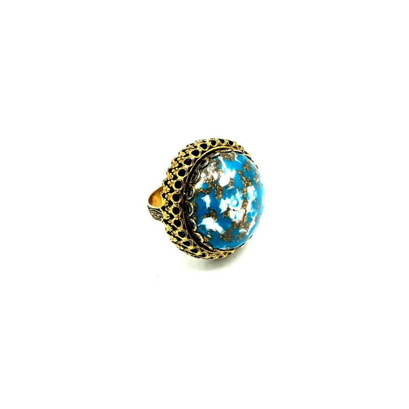 Vintage Large Faux Turquoise Cabochon Cocktail Ring