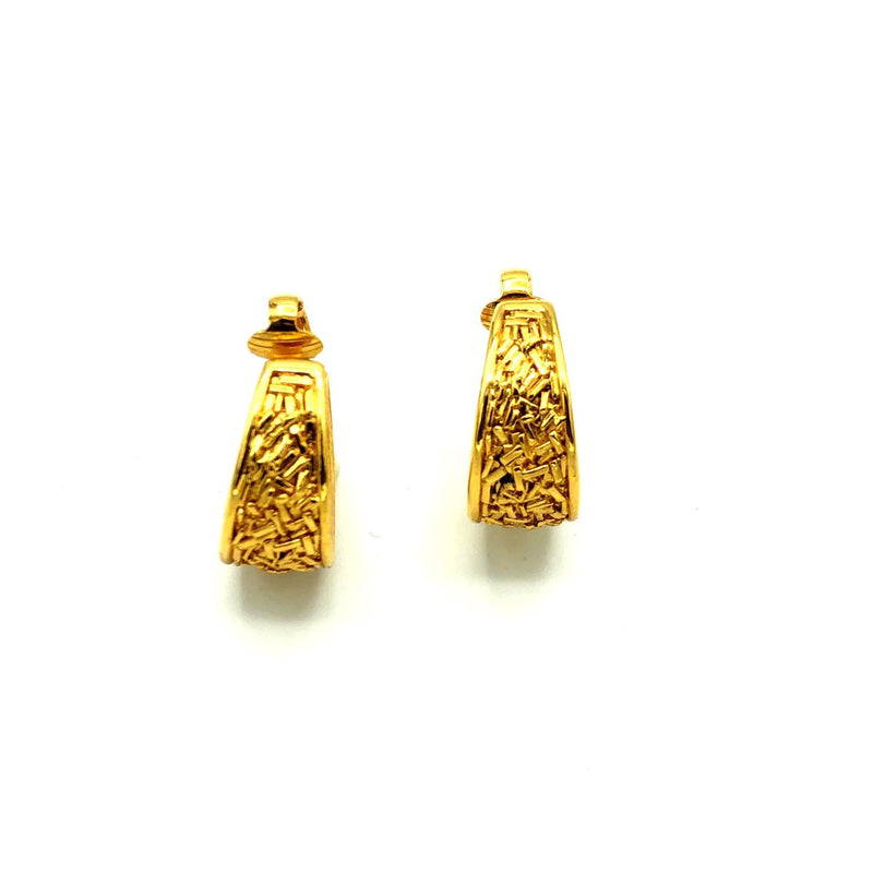 Crown Trifari Gold Confetti Hoop Vintage Earrings