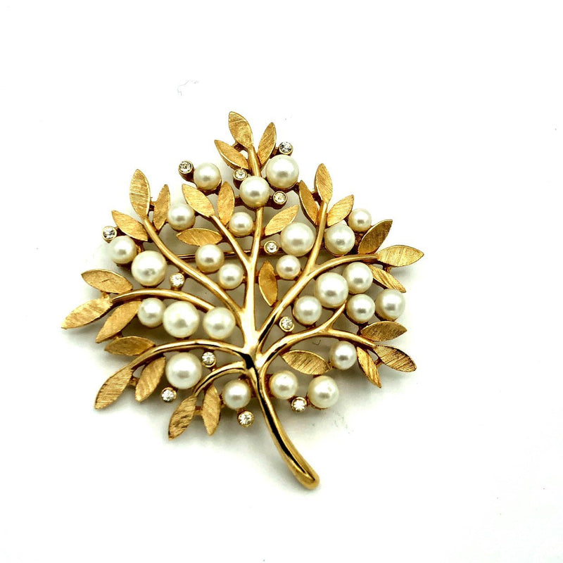 Vintage Gold Trifari Classic Tree Pearl Brooch-Sustainable Fashion with Vintage Style-Trending Designer Fashion-24 Wishes