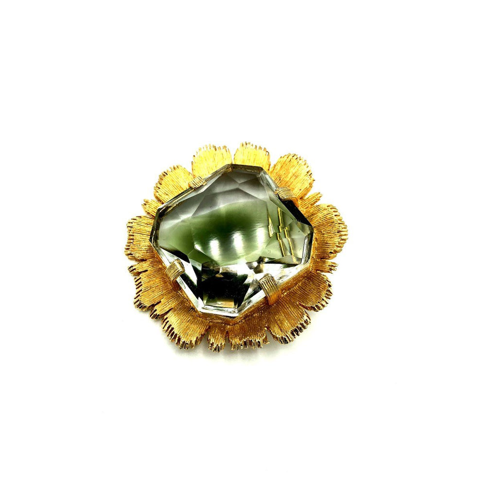 Gold Emmons Large Faceted Glass Flower Statement Vintage Brooch