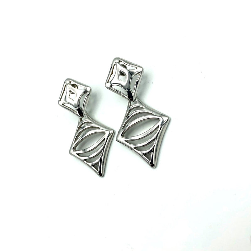update alt-text with template Classic Monet Silver Cut Out Dangle Vintage Pierced Earrings-Earrings-Monet-[trending designer jewelry]-[monet jewelry]-[Sustainable Fashion]