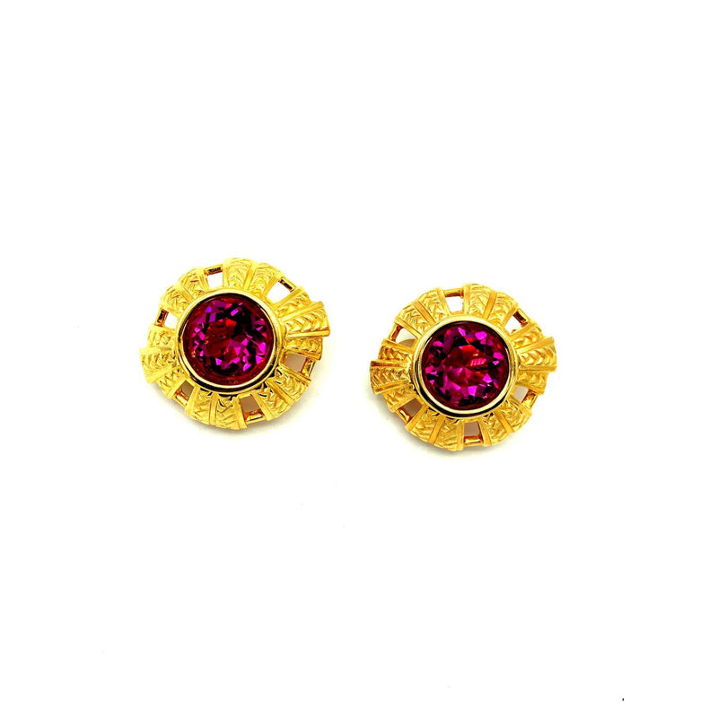 Swarovski Gold Large Pink Crystal Earrings