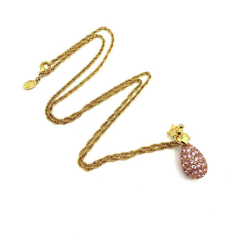 update alt-text with template Joan Rivers Pink Rhinestone Egg Vintage Pendant-Necklaces & Pendants-Joan Rivers-[trending designer jewelry]-[joan rivers jewelry]-[Sustainable Fashion]