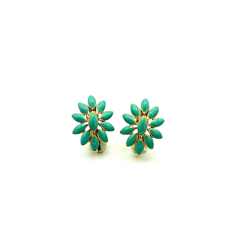 Nina Ricci Turquoise Blue Enamel Floral Vintage Earrings-Sustainable Fashion with Vintage Style-Trending Designer Fashion-24 Wishes
