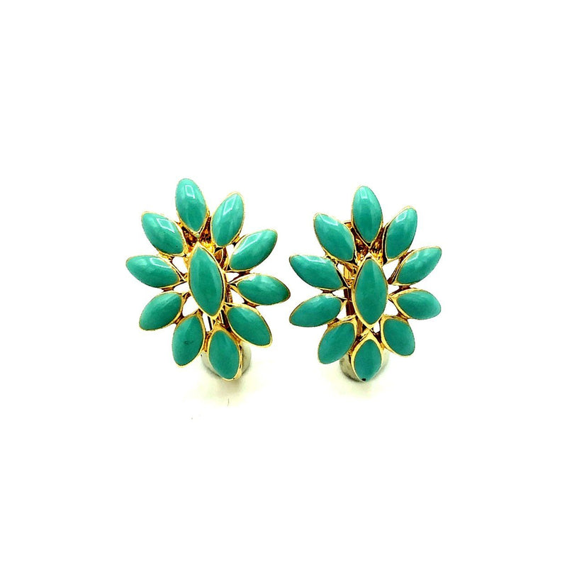 Nina Ricci Turquoise Blue Enamel Floral Vintage Earrings