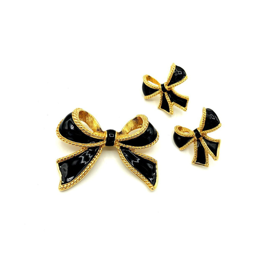 Kenneth Jay Lane Black Bow Ribbon Enamel Jewelry Set