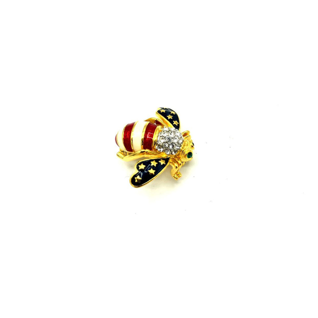 update alt-text with template Joan Rivers Blue Stars & Red Stripes Enamel Bee Brooch-Brooches & Pins-Joan Rivers-[trending designer jewelry]-[joan rivers jewelry]-[Sustainable Fashion]
