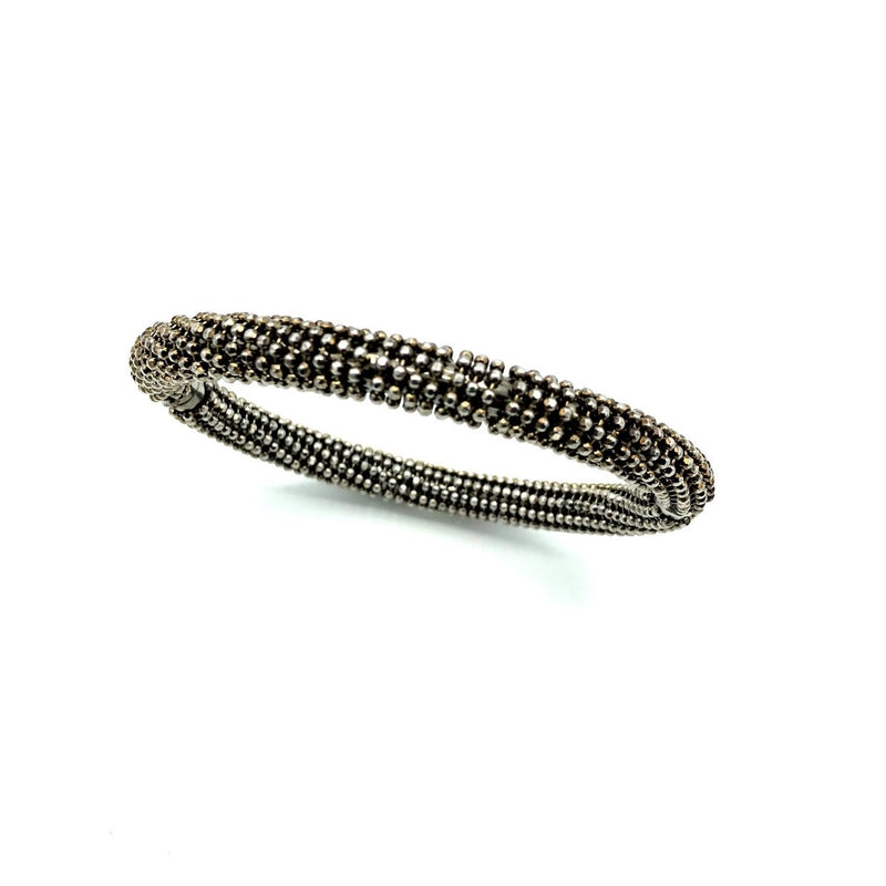 Milor Sterling Blackened Hinged Vintage Bangle Bracelet