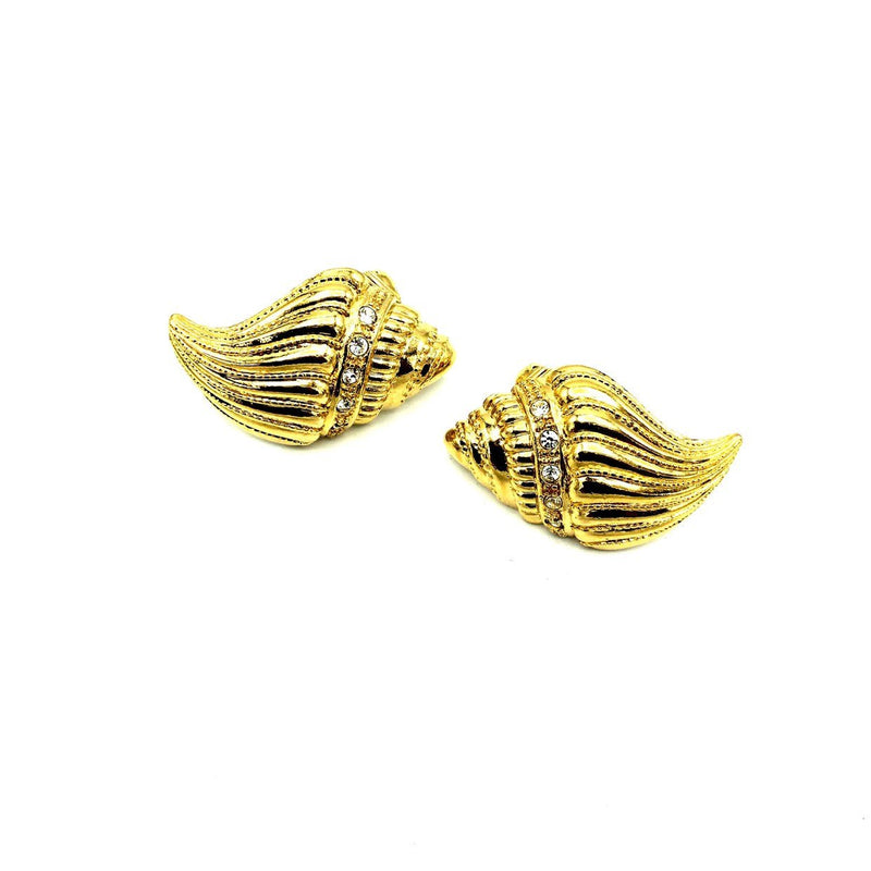 update alt-text with template Gold Kenneth Jay Lane Conch Seashell Earrings-Earrings-Kenneth Jay Lane-[trending designer jewelry]-[kenneth jay lane KJL jewelry]-[Sustainable Fashion]