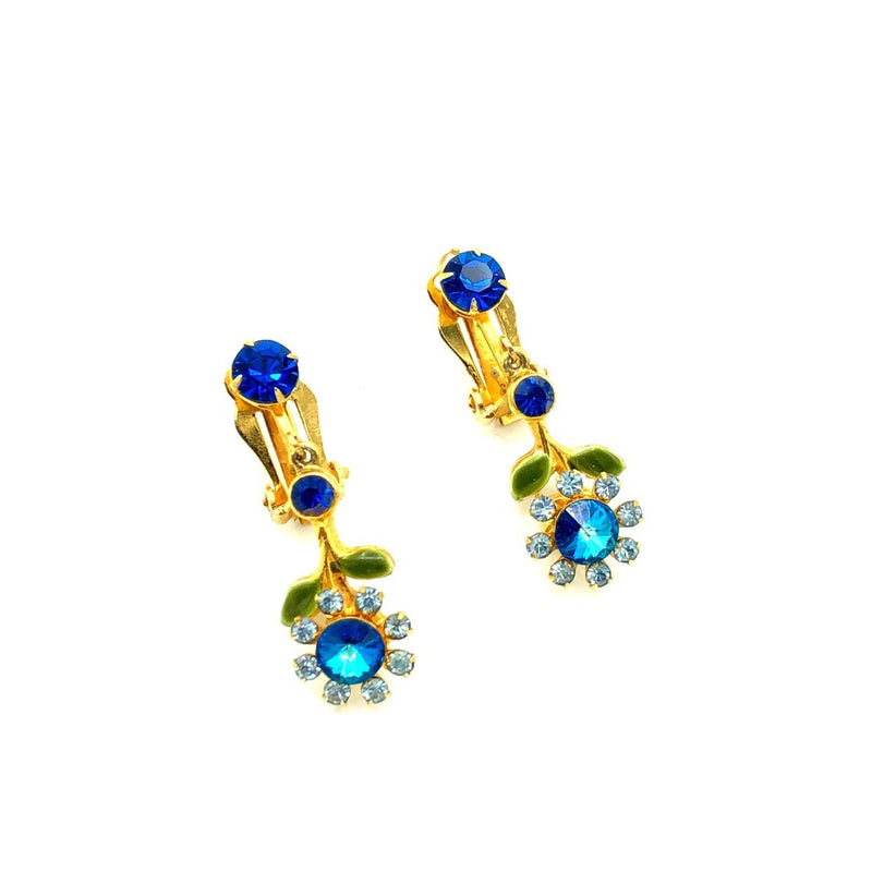 Vintage Blue Flower Rhinestone Dangle Earrings