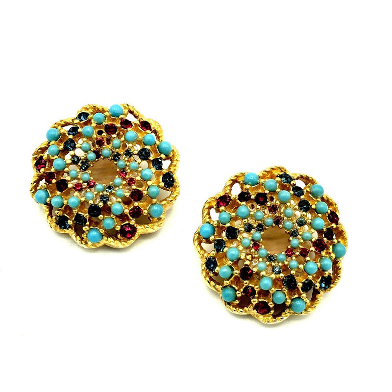 Sarah Coventry Gold Vintage Turquoise Bead Earrings-Sustainable Fashion with Vintage Style-Trending Designer Fashion-24 Wishes