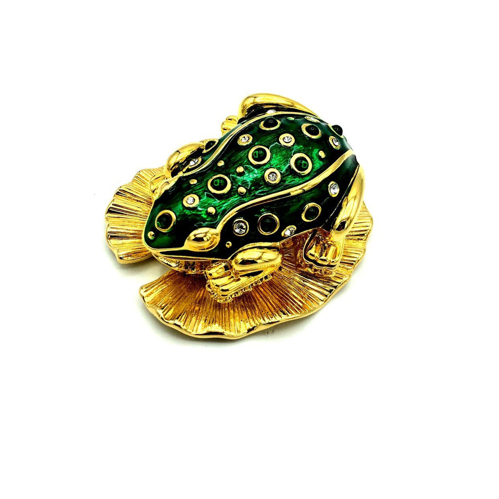 update alt-text with template Kenneth Jay Lane Green Enamel Frog Vintage Brooch & Trinket Box-Brooches & Pins-Kenneth Jay Lane-[trending designer jewelry]-[kenneth jay lane KJL jewelry]-[Sustainable Fashion]