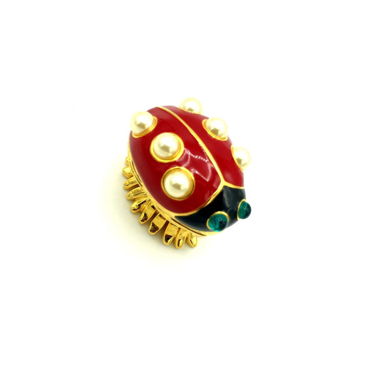 Kenneth Jay Lane Enamel Red Ladybug Vintage Brooch & Trinket Box