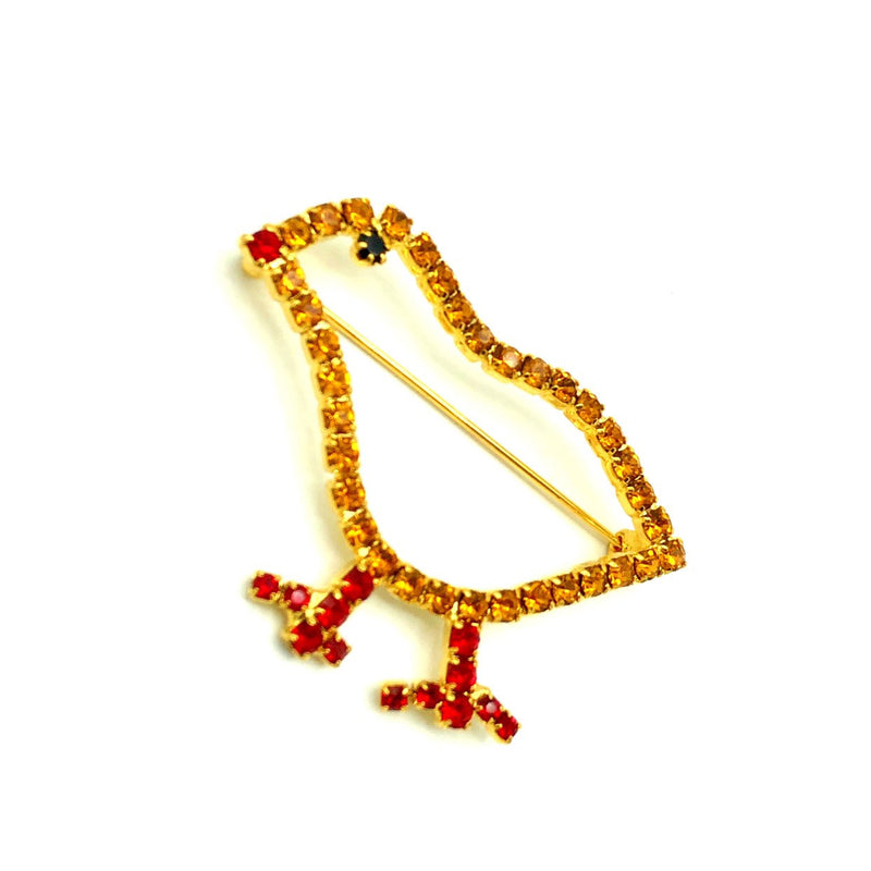 Vintage Yellow Rhinestone Chick Brooch
