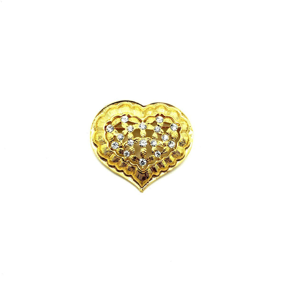 Gold Classic Monet Rhinestone Heart Vintage Brooch