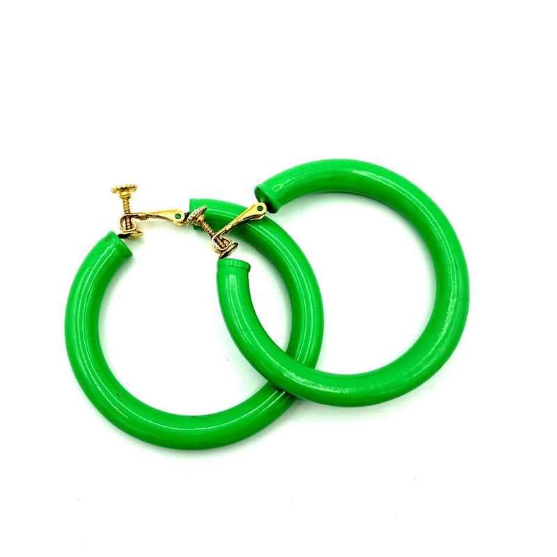 Trifari Large Green Hoop Vintage Earrings