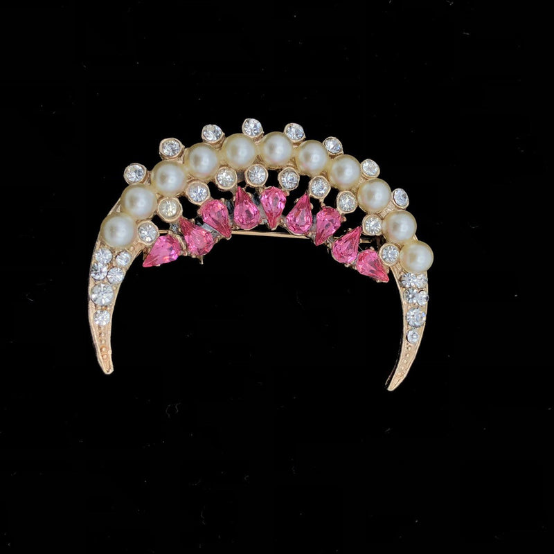 Joseph Wiesner Pink Rhinestone & Pearl Crescent Vintage Brooch-Sustainable Fashion with Vintage Style-Trending Designer Fashion-24 Wishes